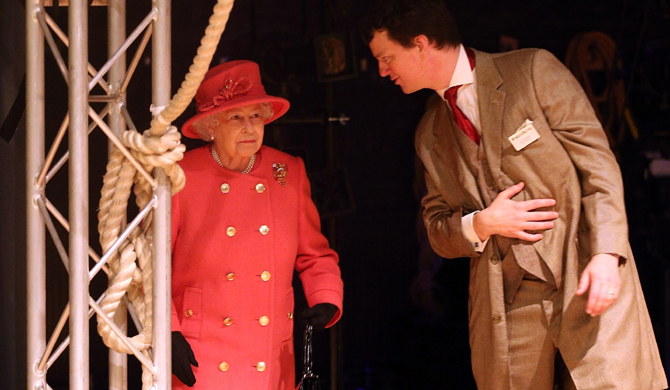 Royalty enter stage right: The Queen treads the boards on a visit to Bristol